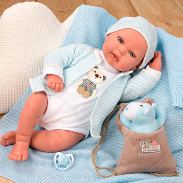 bebe reborn adrian con manta peluche y bolsa multiusos