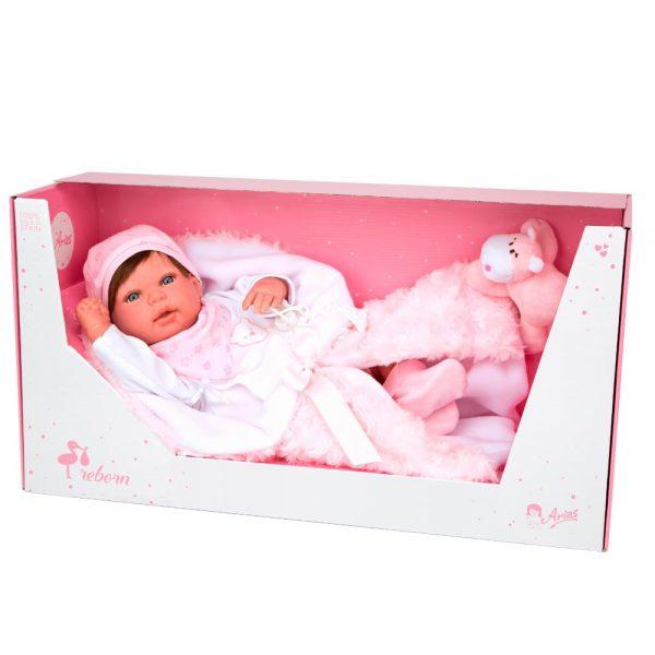 bebe reborn aina con manta y peluche 4