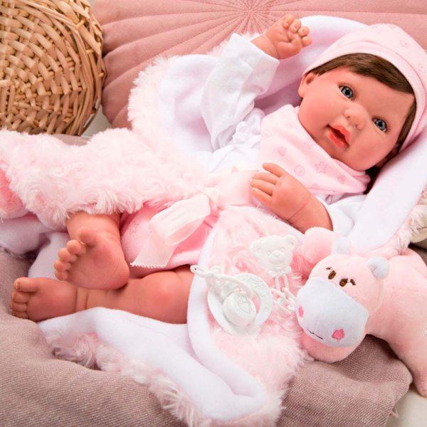 bebe reborn aina con manta y peluche