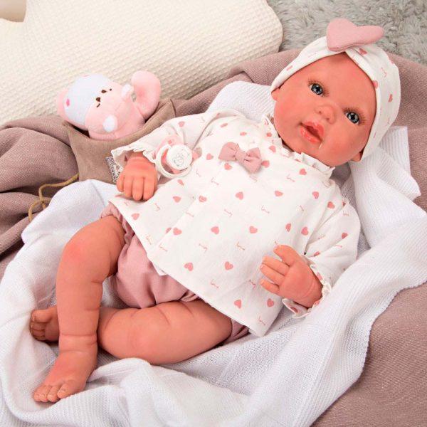 bebe reborn eva con manta peluche y bolsa multiusos