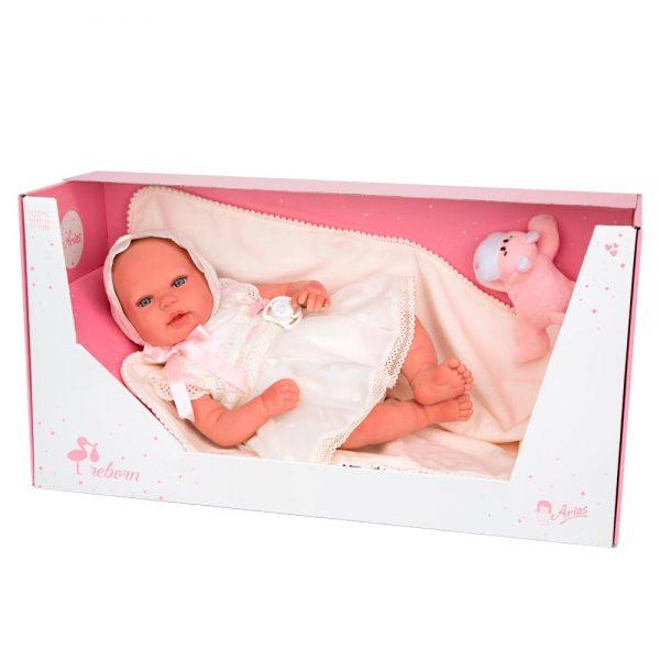 bebe reborn gaia con manta y peluche 4