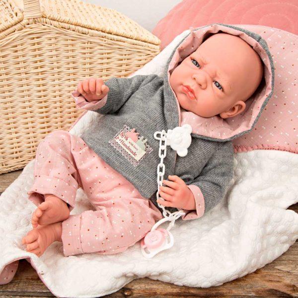 muneca con peso elegance edur rosa con manta