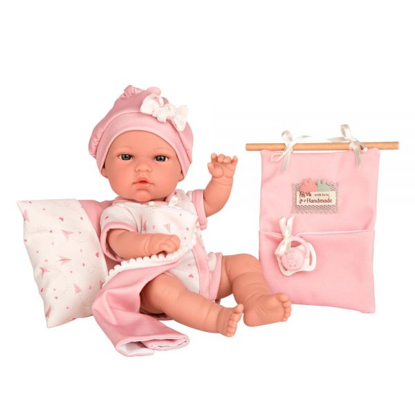 muneca elegance natal rosa con cojin doudou y bolsita multiusos